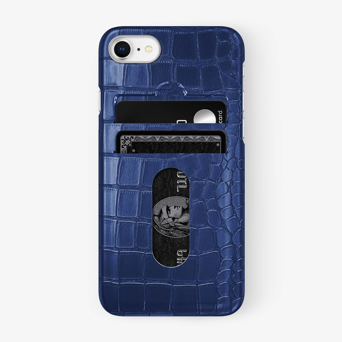 Alligator Card Holder Case iPhone 7/8 | Navy Blue - Stainless Steel - Hadoro