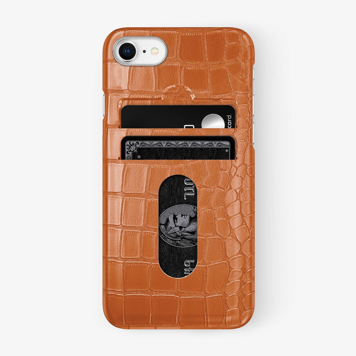 Alligator Card Holder Case iPhone 7/8 | Orange - Stainless Steel - Hadoro