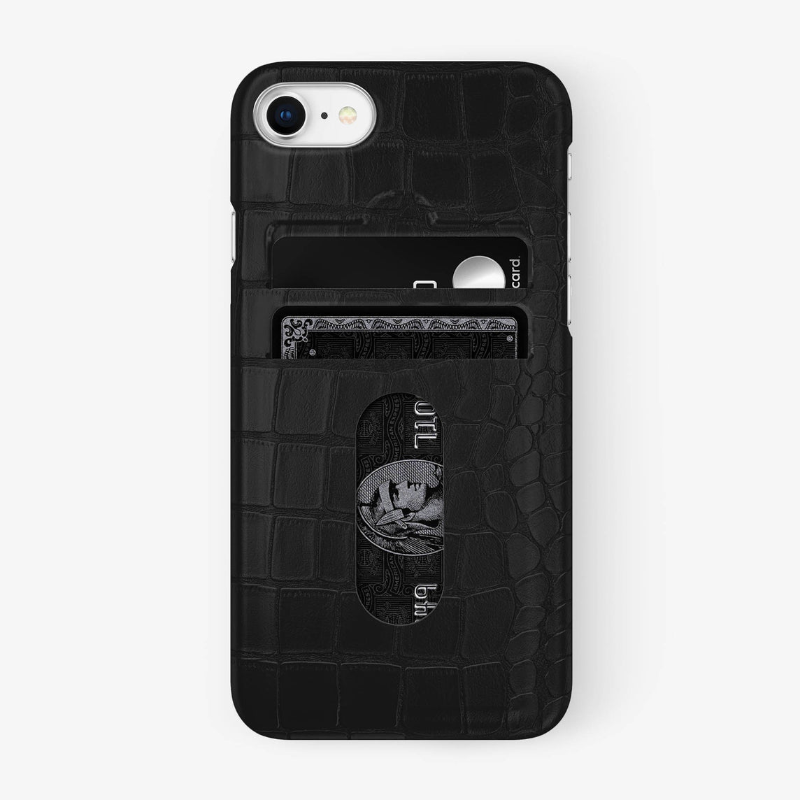 Alligator Card Holder Case iPhone 7/8 | Phantom Black - Stainless Steel - Hadoro