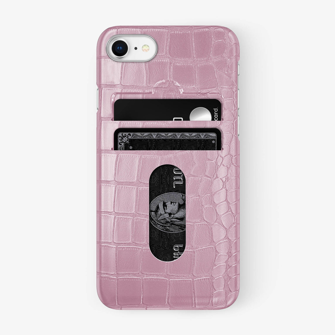 Alligator Card Holder Case iPhone 7/8 | Pink - Stainless Steel - Hadoro