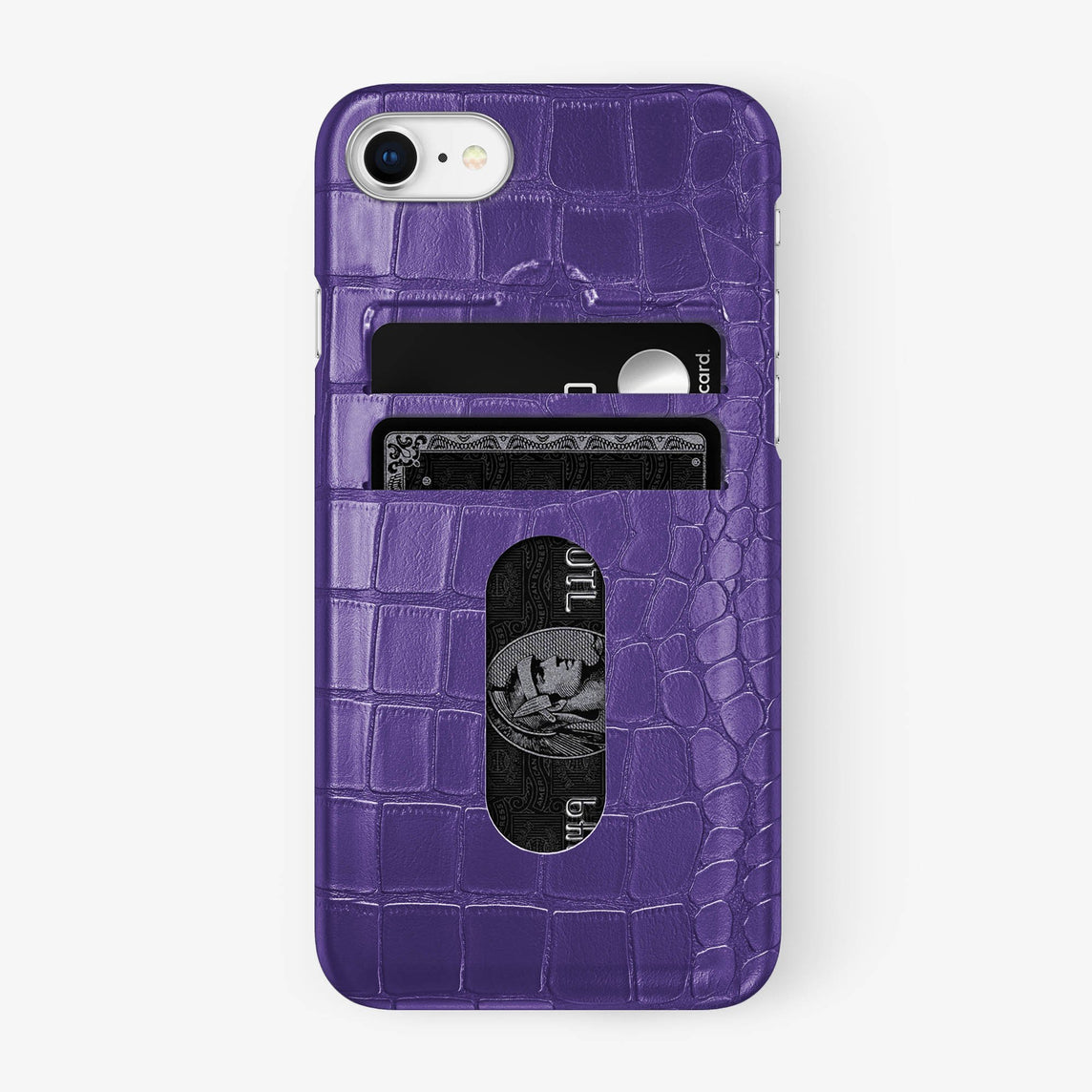 Alligator Card Holder Case iPhone 7/8 | Purple - Stainless Steel - Hadoro