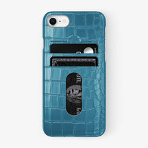 Alligator Card Holder Case iPhone 7/8 | Teal - Stainless Steel
