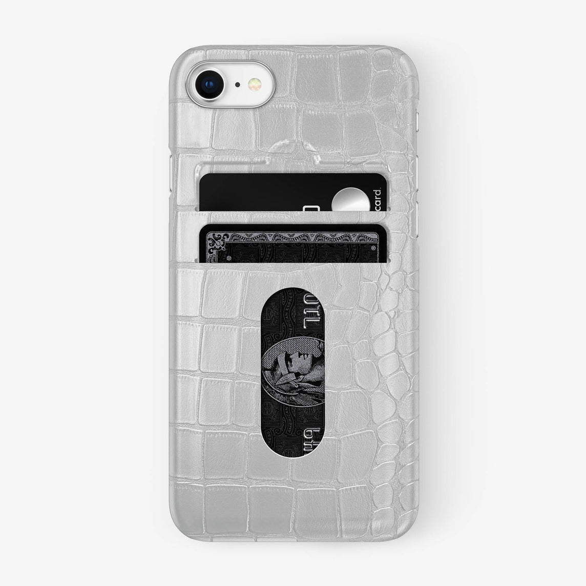 Alligator Card Holder Case iPhone 7/8 | White - Stainless Steel