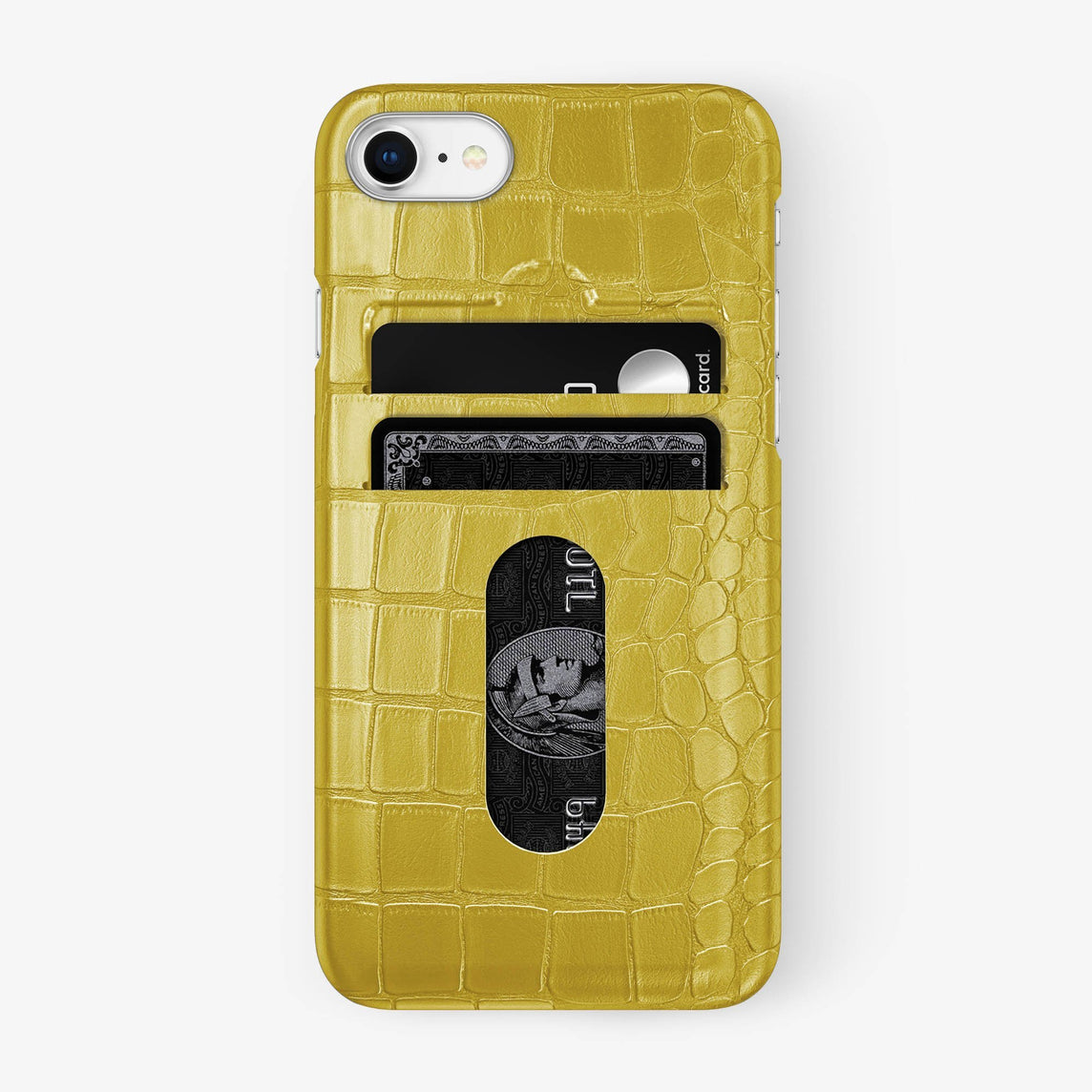 Alligator Card Holder Case iPhone 7/8 | Yellow - Stainless Steel