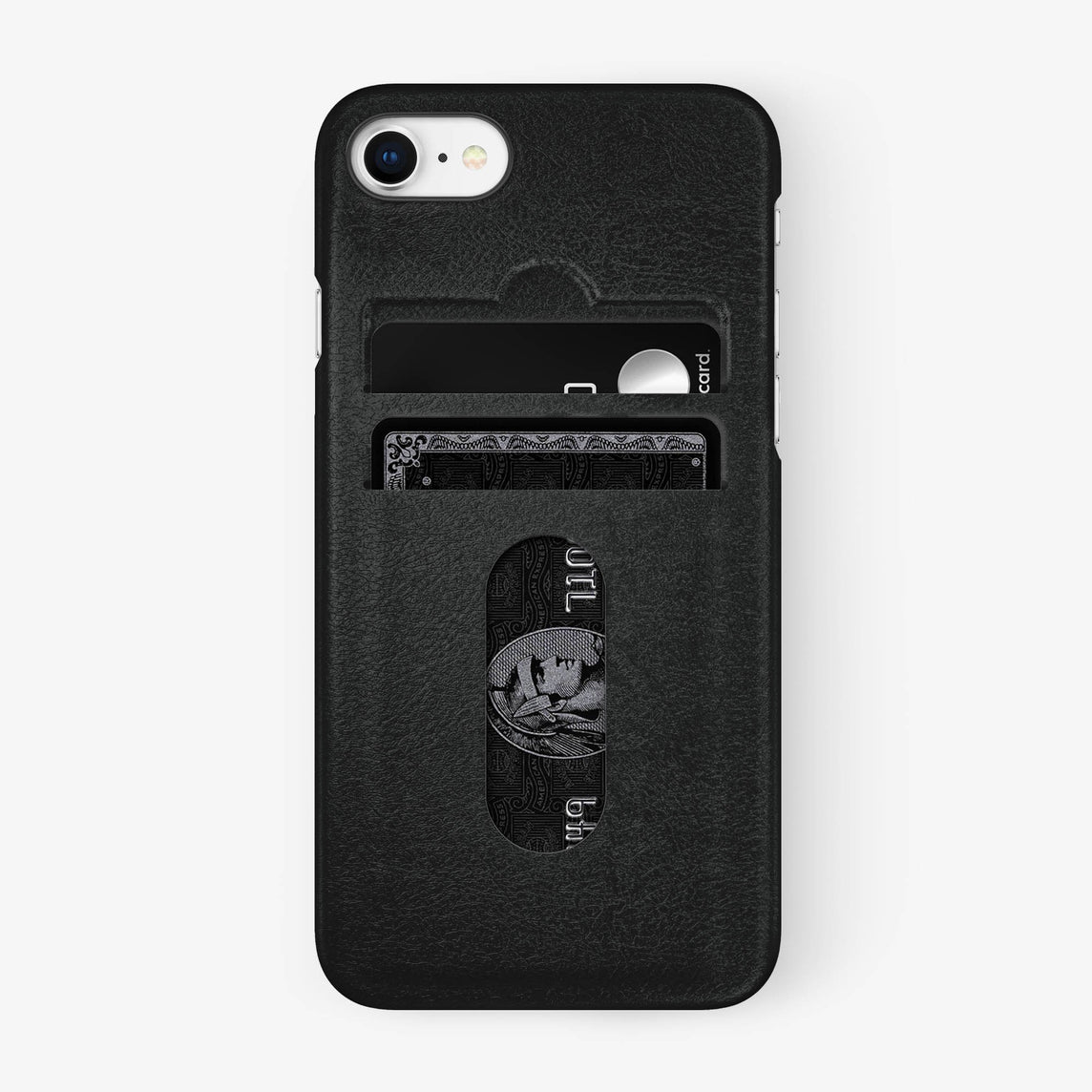 Calfskin Card Holder Case iPhone 7/8 | Black - Black
