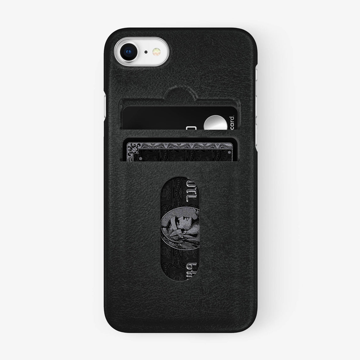 Calfskin Card Holder Case iPhone 7/8 | Black - Stainless Steel