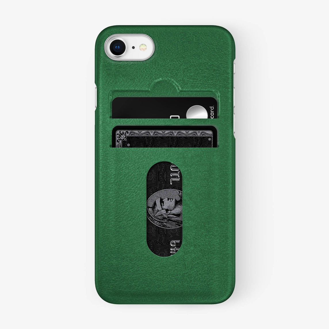 Calfskin Card Holder Case iPhone 7/8 | Green - Stainless Steel
