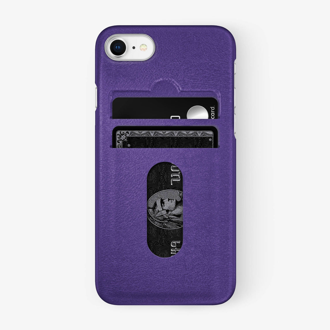 Calfskin Card Holder Case iPhone 7/8 | Purple - Stainless Steel