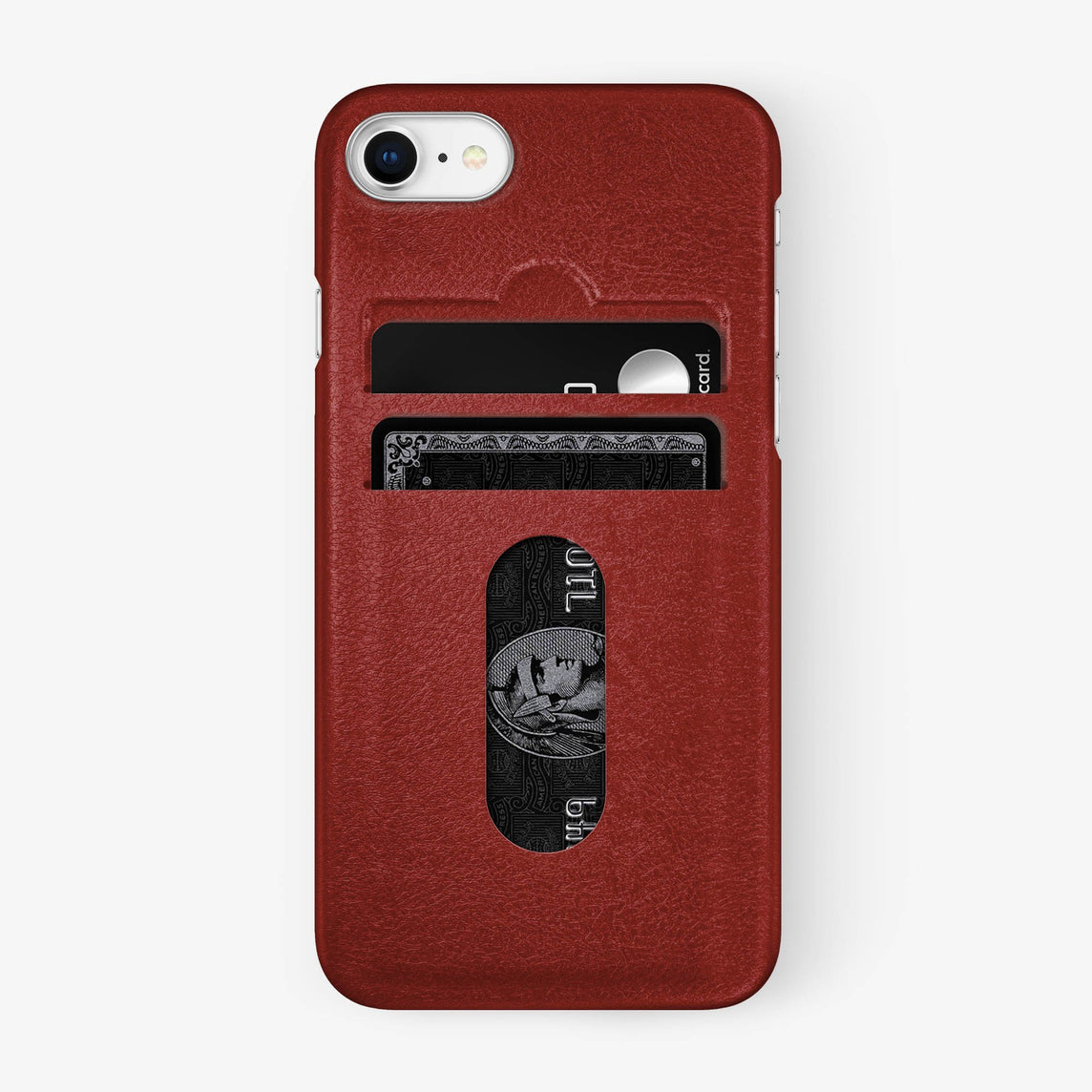 Calfskin Card Holder Case iPhone 7/8 | Red - Stainless Steel