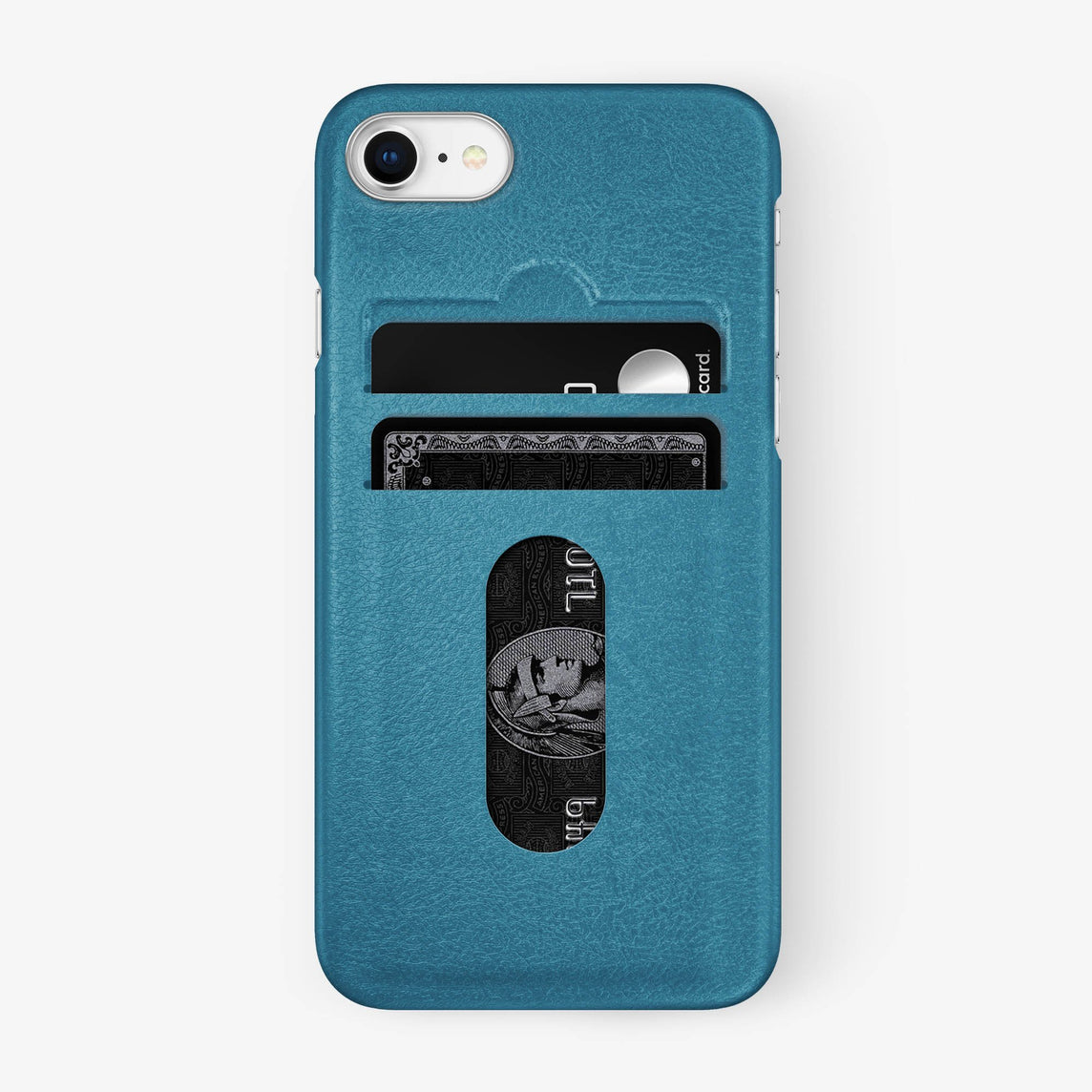 Calfskin Card Holder Case iPhone 7/8 | Teal - Stainless Steel