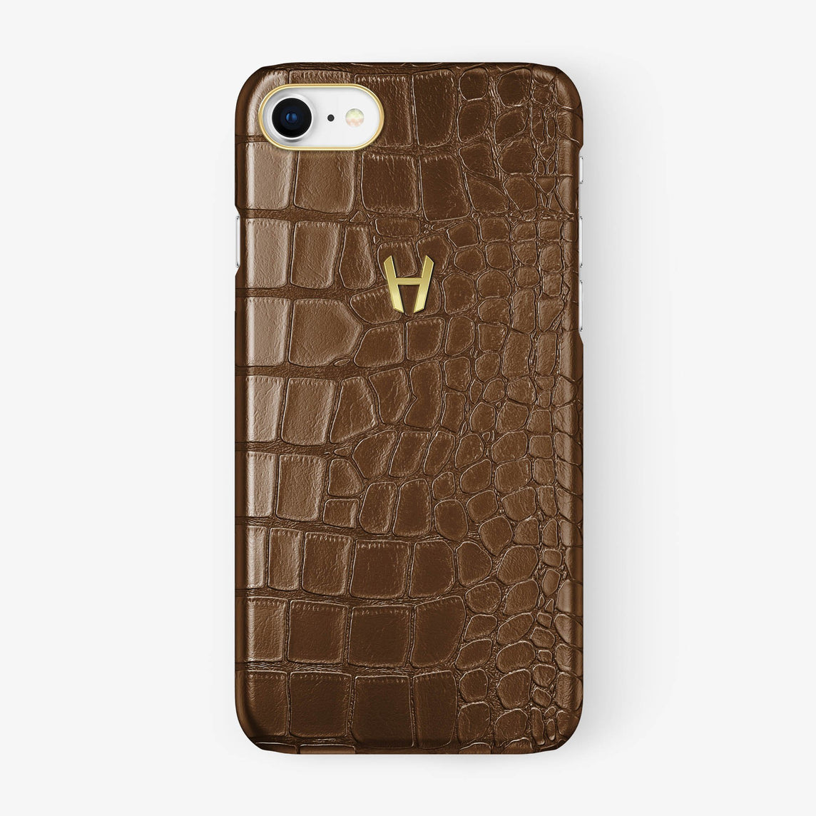 Alligator Case iPhone 7/8 | Brown - Yellow Gold - Hadoro