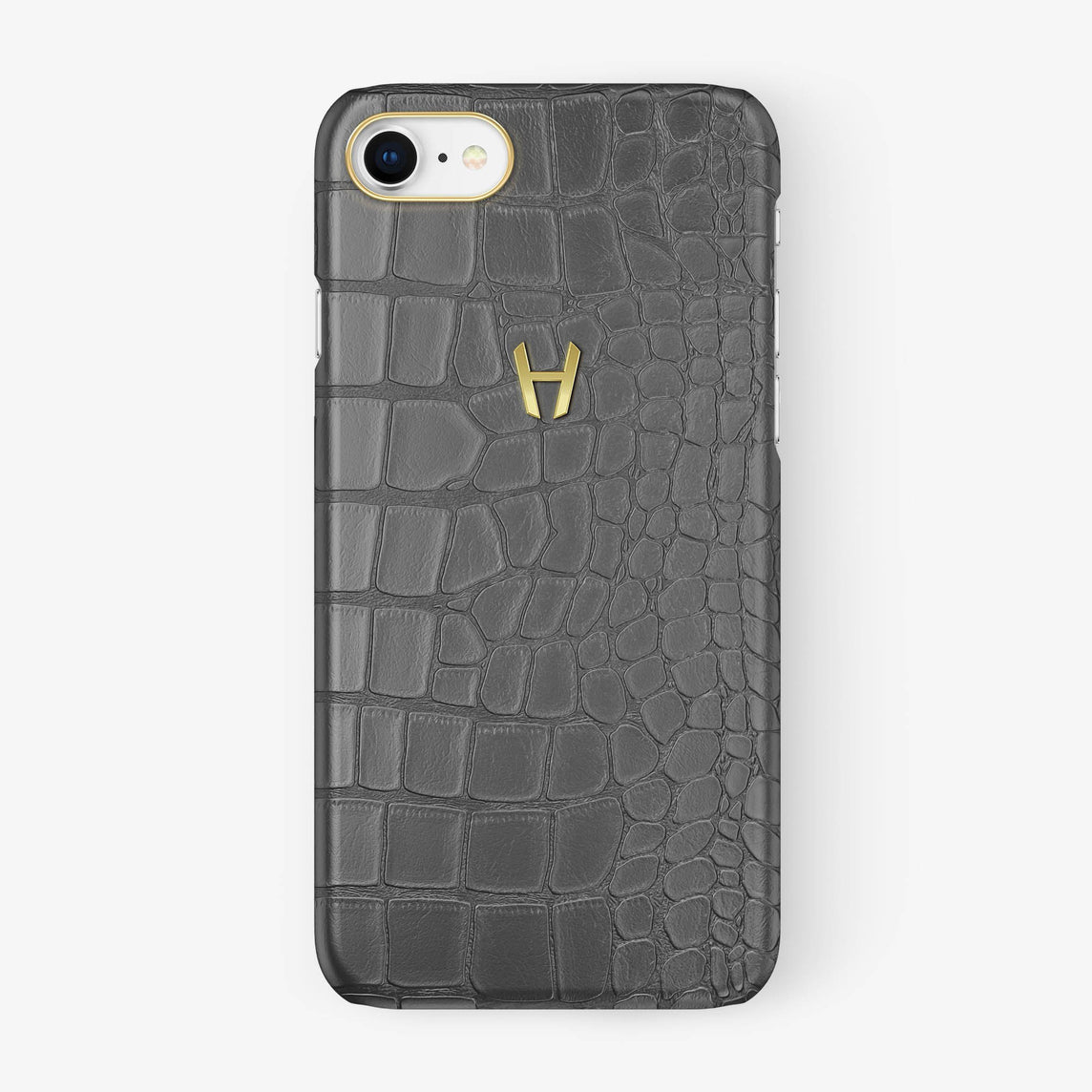 Alligator Case iPhone 7/8 | Grey - Yellow Gold