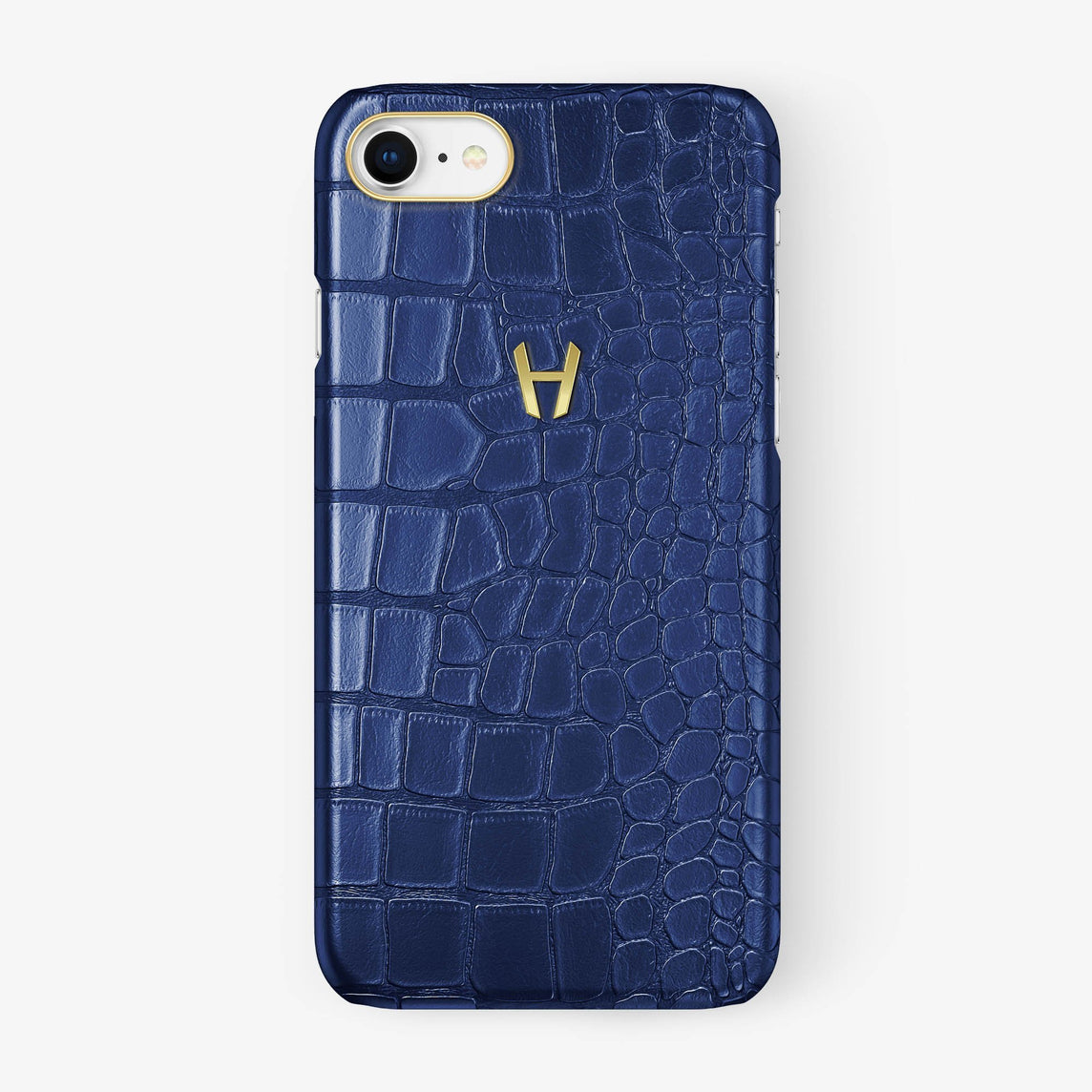 Alligator Case iPhone 7/8 | Navy Blue - Yellow Gold - Hadoro