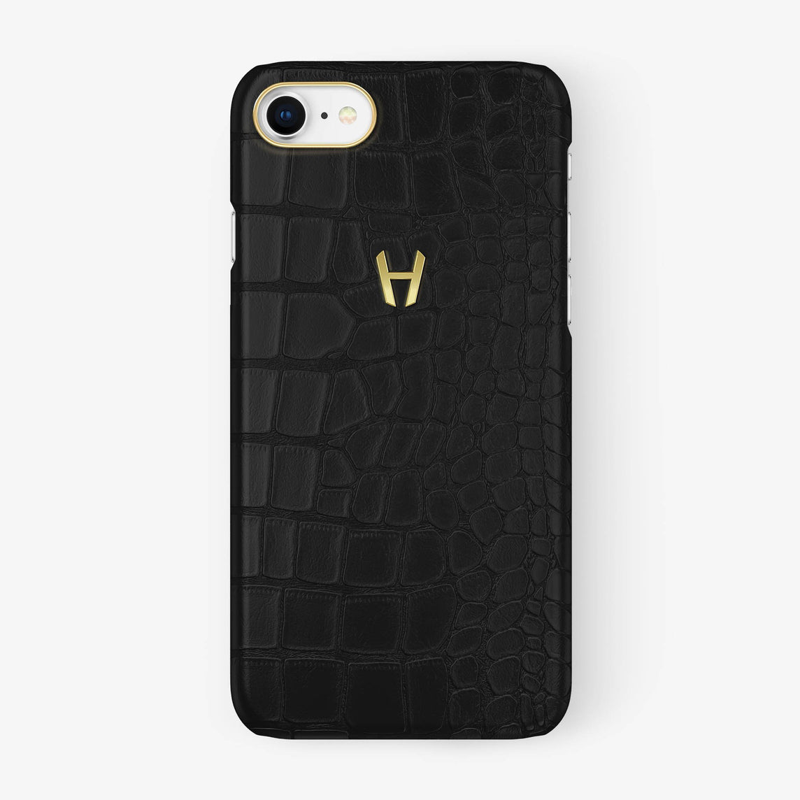 Alligator Case iPhone 7/8 | Phantom Black - Yellow Gold