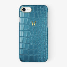 Alligator Case iPhone 7/8 | Teal - Yellow Gold