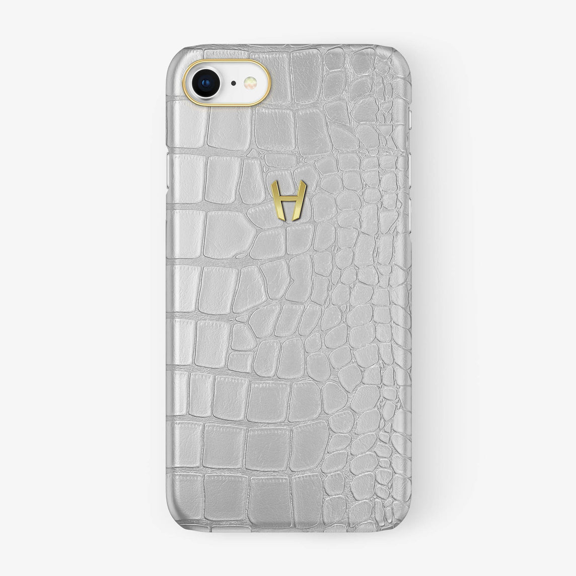 Alligator Case iPhone 7/8 | White - Yellow Gold