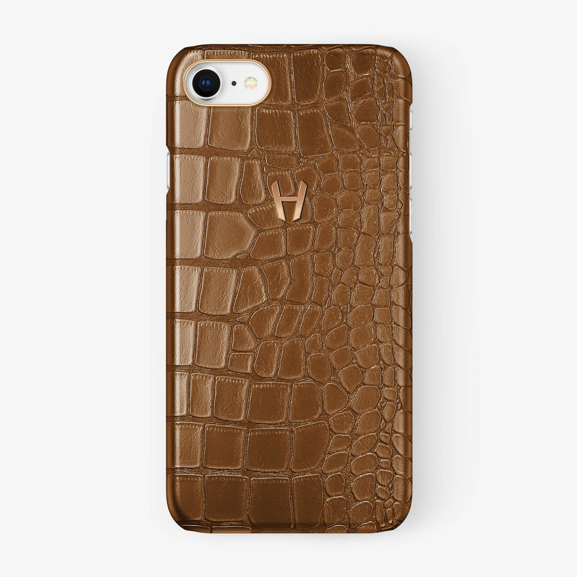 Alligator Case iPhone 7/8 | Cognac - Rose Gold - Hadoro
