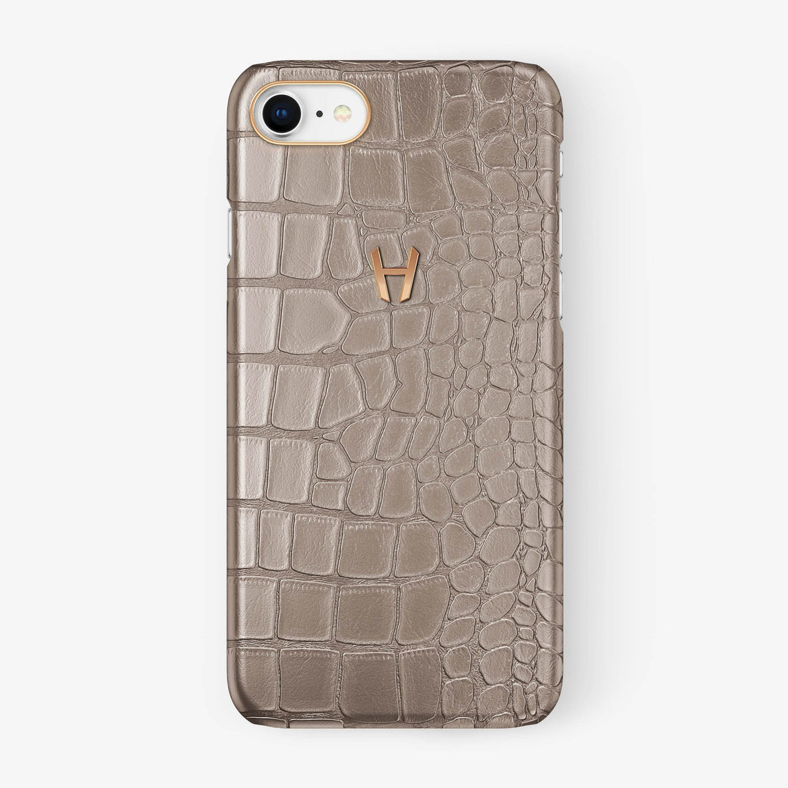 Alligator Case iPhone 7/8 | Latte - Rose Gold