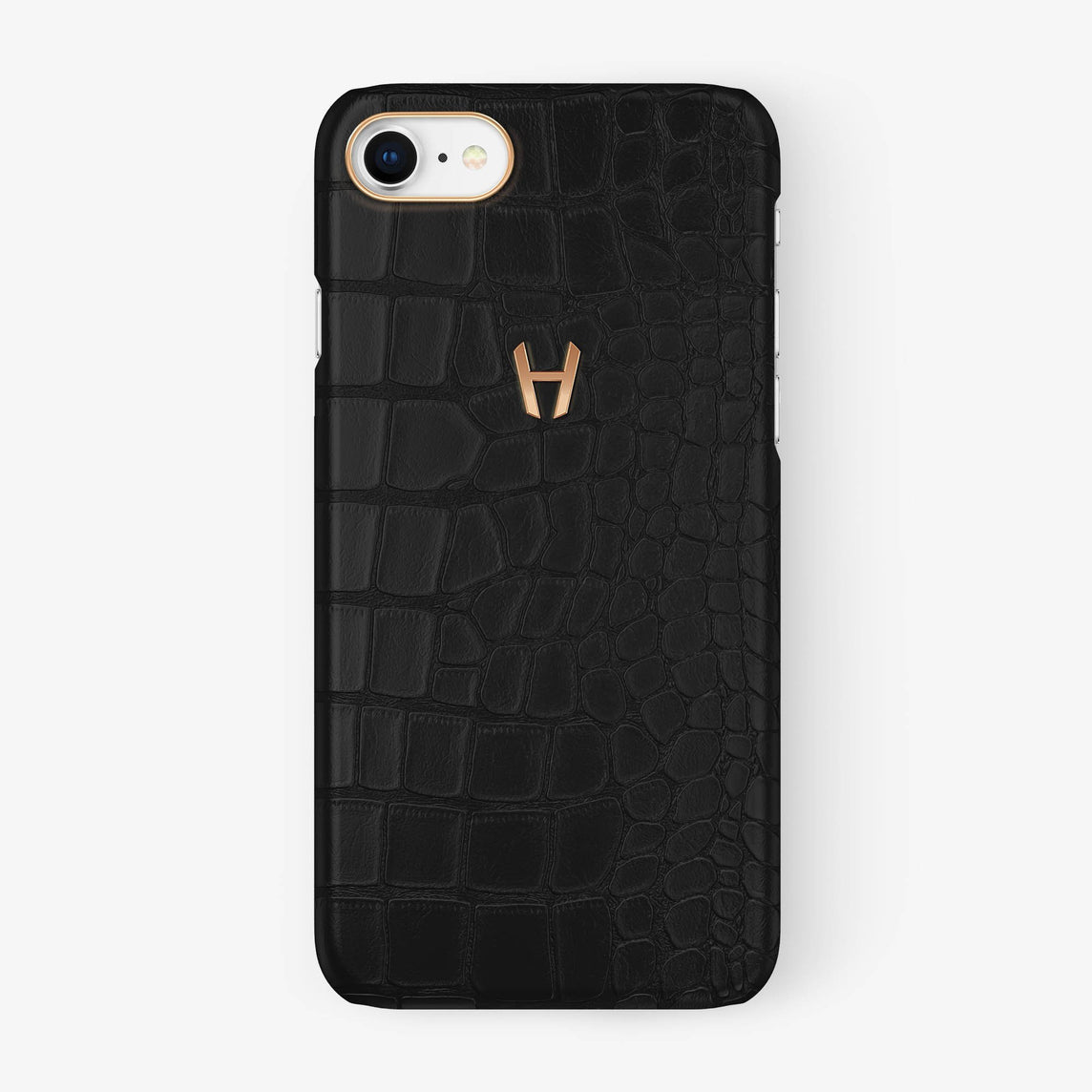 Alligator Case iPhone 7/8 | Phantom Black - Rose Gold