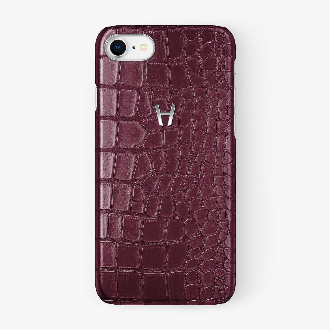 Alligator Case iPhone 7/8 | Burgundy - Stainless Steel - Hadoro