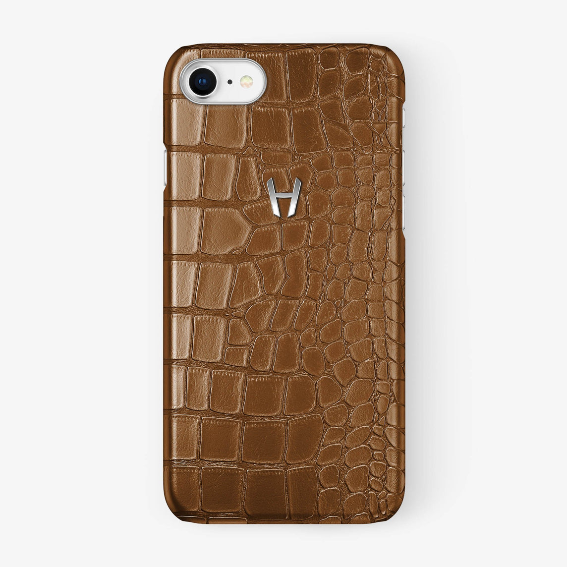 Alligator Case iPhone 7/8 | Cognac - Stainless Steel