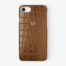 Alligator Case iPhone 7/8 | Cognac - Stainless Steel - Hadoro