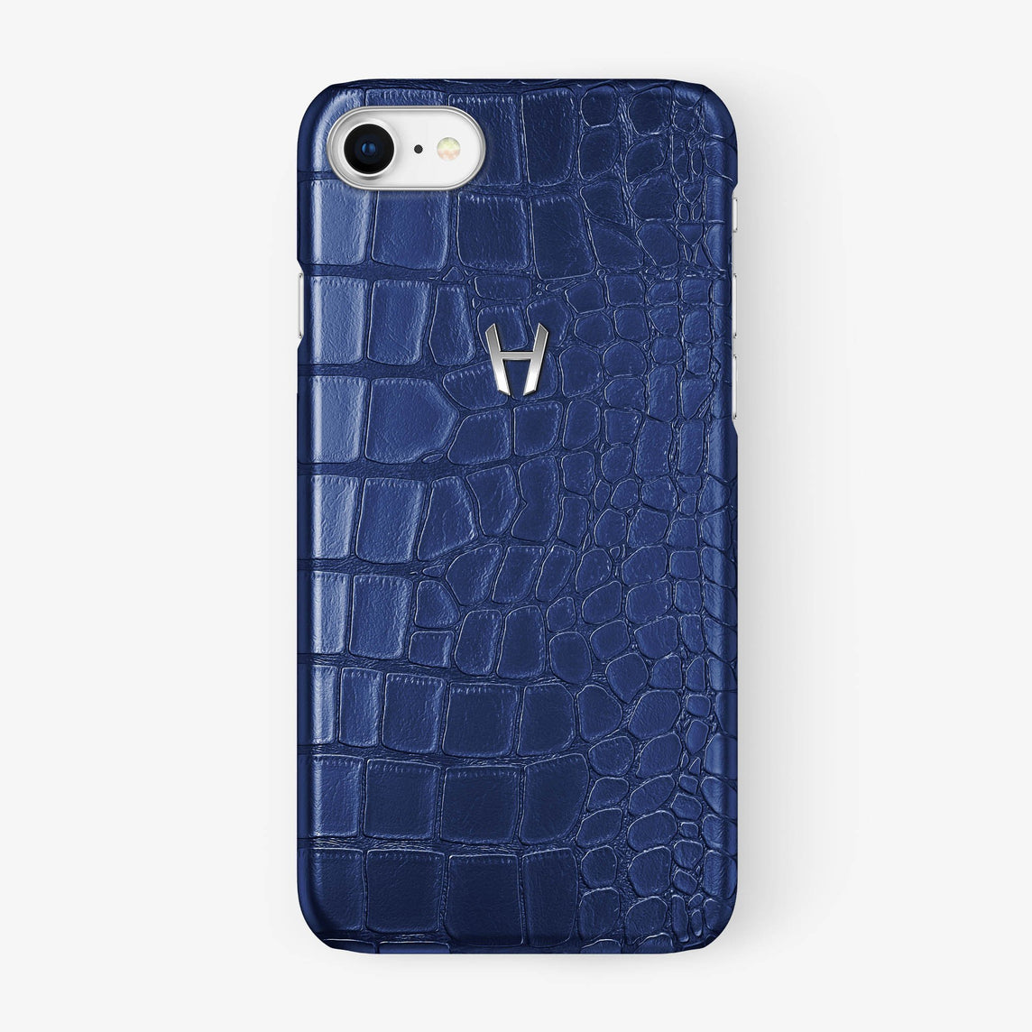 Alligator Case iPhone 7/8 | Navy Blue - Stainless Steel