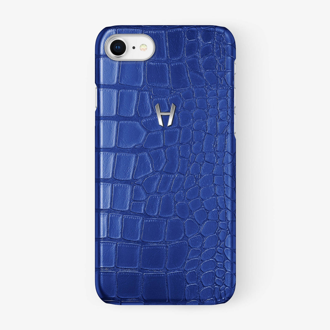Alligator Case iPhone 7/8 | Peony Blue - Stainless Steel