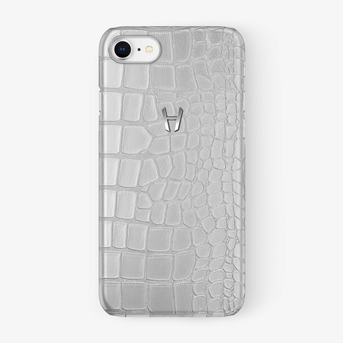 Alligator Case iPhone 7/8 | White - Stainless Steel - Hadoro