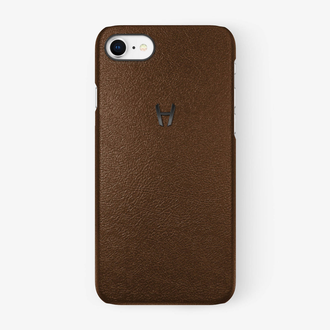 Calfskin Case iPhone 7/8 | Brown - Black without-personalization