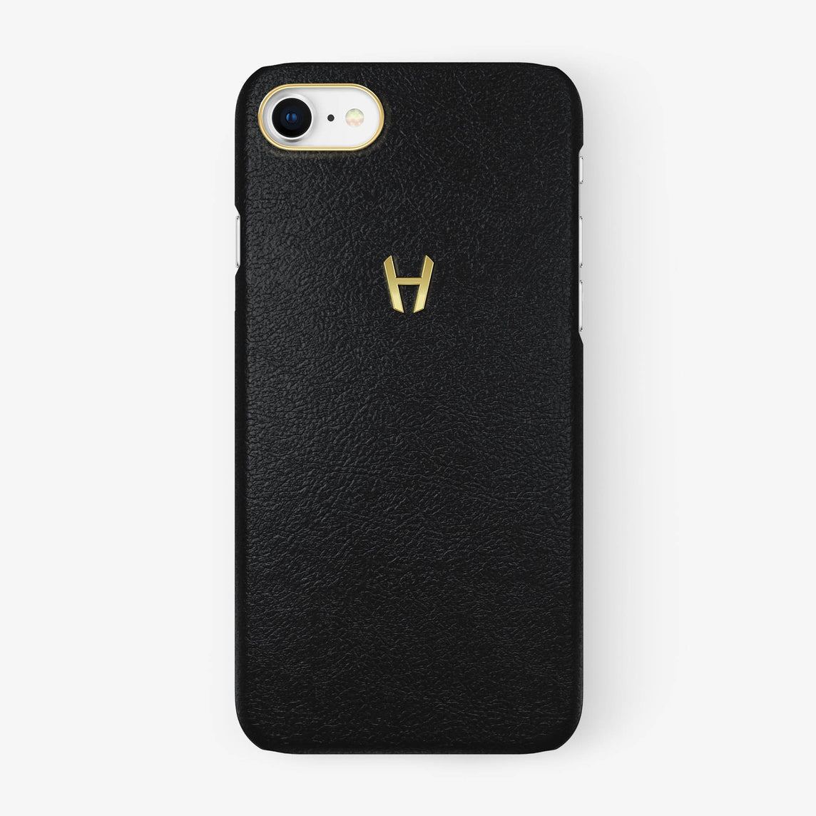 Calfskin Case iPhone 7/8 | Black - Yellow Gold without-personalization