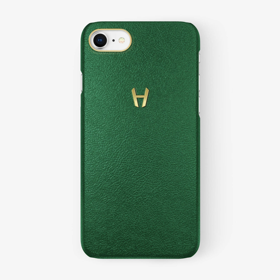 Calfskin [iPhone Case] [model:iphone-7-8-case] [colour:green] [finishing:yellow-gold]