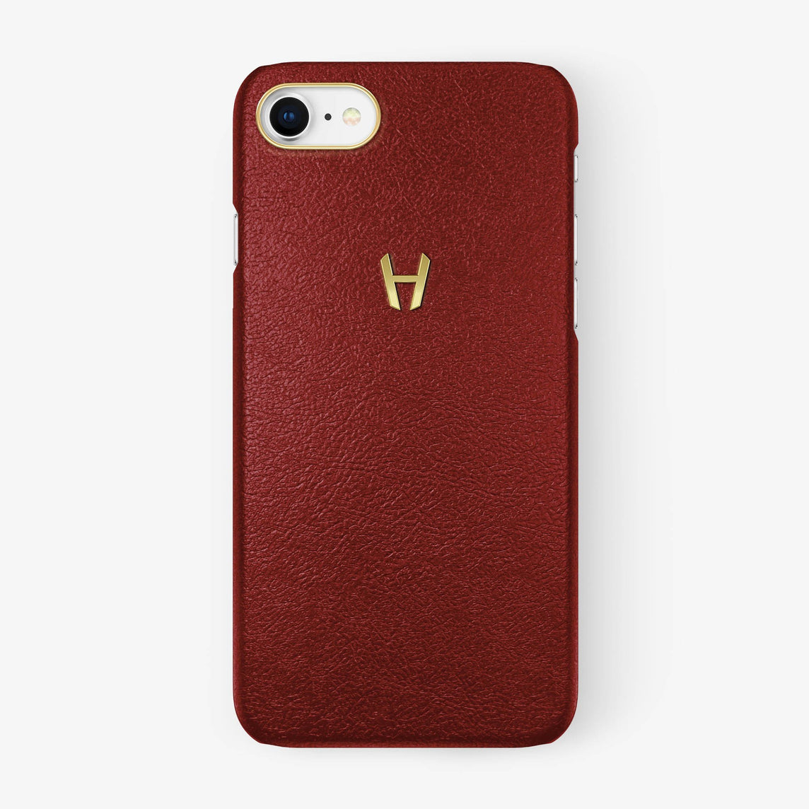 Calfskin Case iPhone 7/8 | Red - Yellow Gold without-personalization