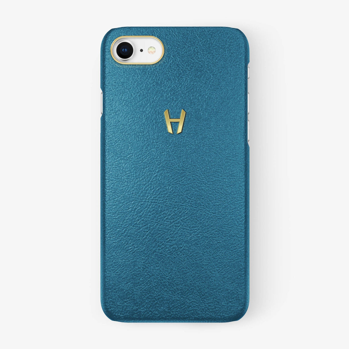 Calfskin Case iPhone 7/8 | Teal - Yellow Gold without-personalization