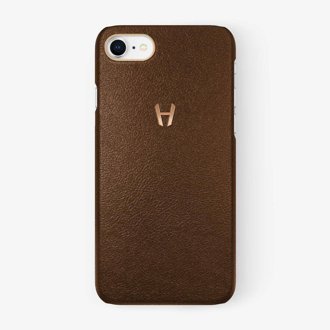 Brown Calfskin iPhone Case for iPhone 7/8 finishing rose gold - Hadoro Luxury Cases
