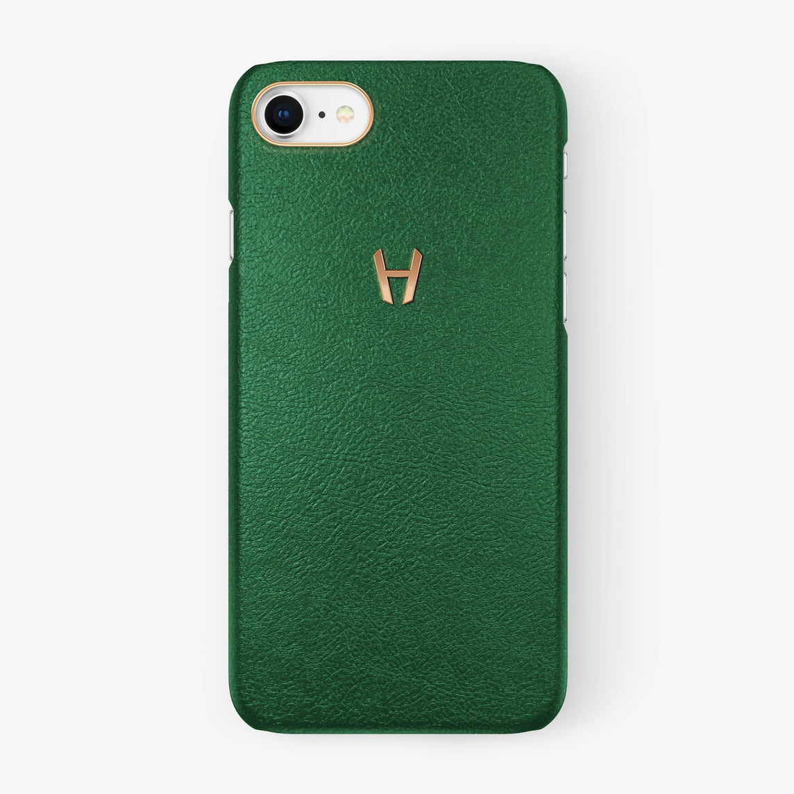 Calfskin Case iPhone 7/8 | Green - Rose Gold without-personalization