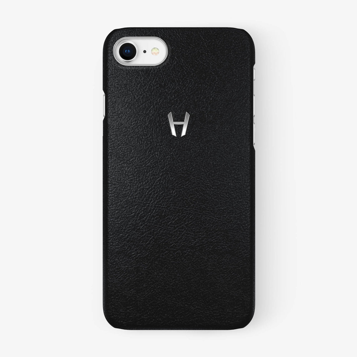 Calfskin Case iPhone 7/8 | Black - Stainless Steel without-personalization