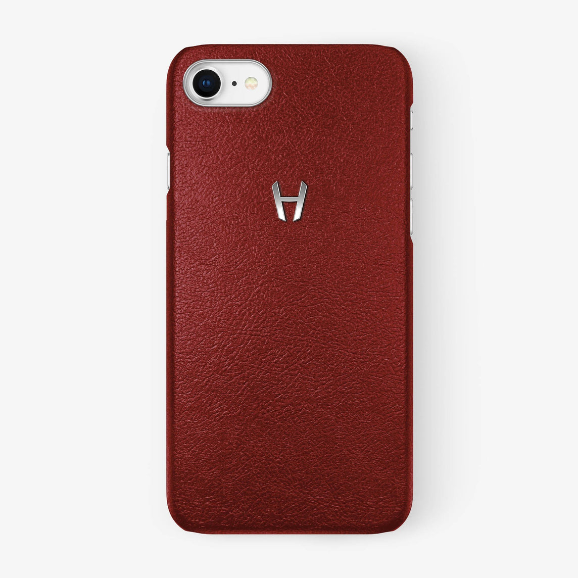 Calfskin Case iPhone 7/8 | Red - Stainless Steel without-personalization