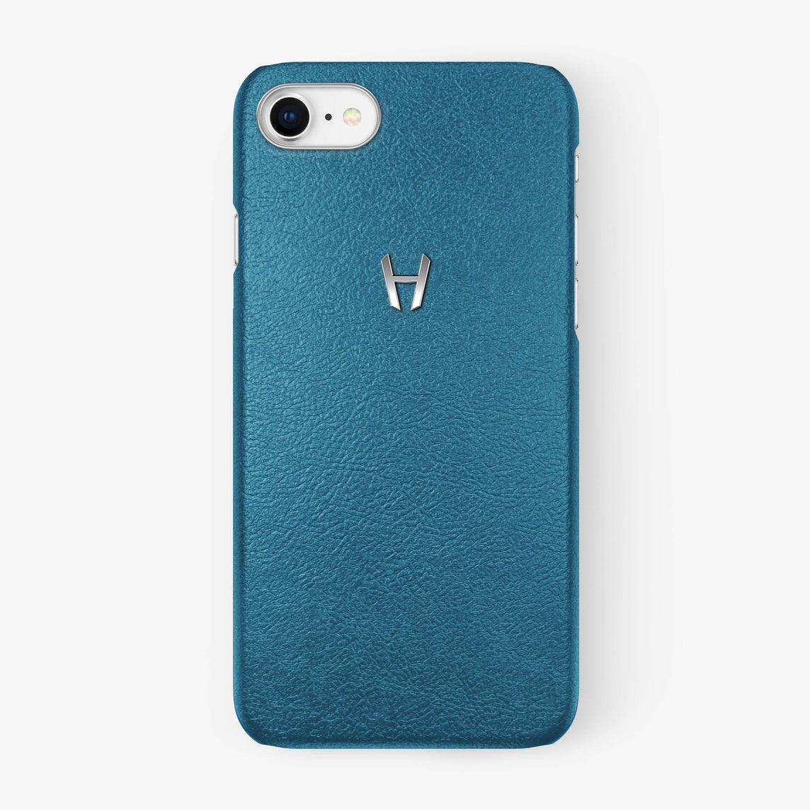 Teal Calfskin iPhone Case for iPhone 7/8 finishing stainless steel - Hadoro Luxury Cases