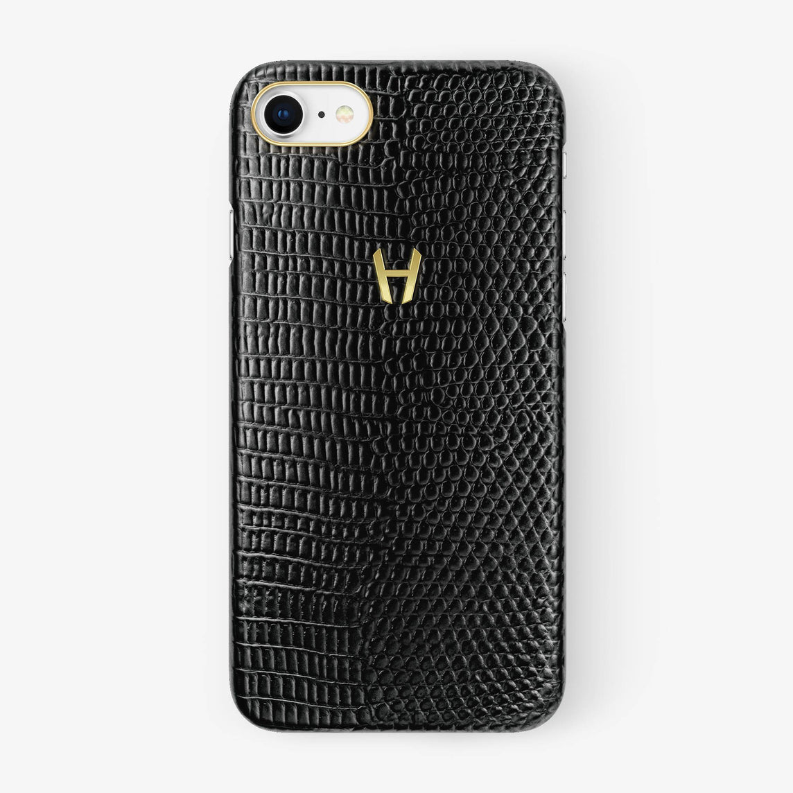 Black Lizard iPhone Case for iPhone 7/8 finishing yellow gold - Hadoro Luxury Cases