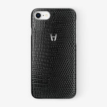 Black Lizard iPhone Case for iPhone 7/8 finishing stainless steel - Hadoro Luxury Cases