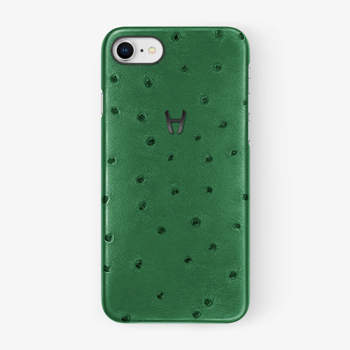 Green Ostrich iPhone Case for iPhone 7/8 finishing black - Hadoro Luxury Cases