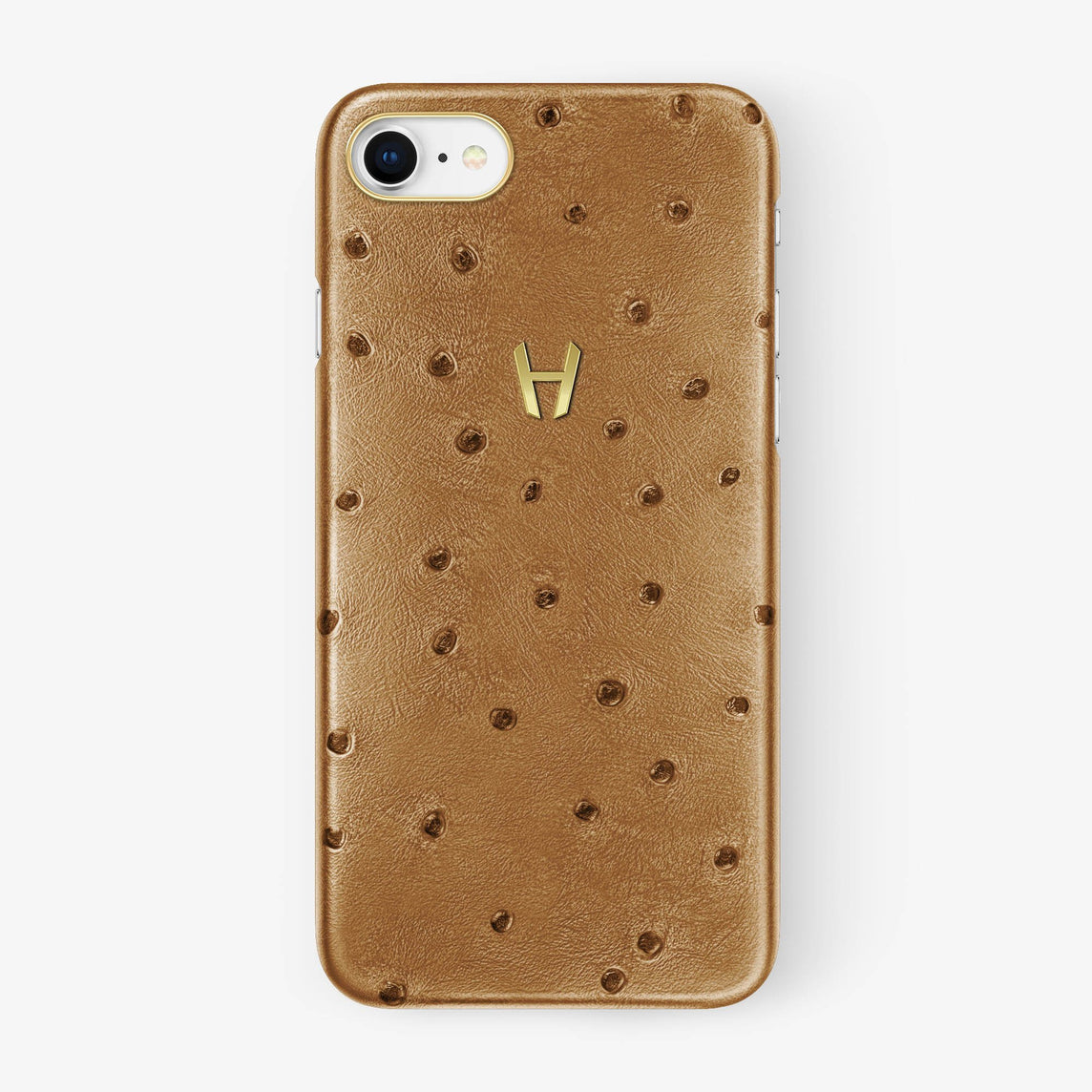 Ostrich Case iPhone 7/8 | Chestnut - Yellow Gold without-personalization