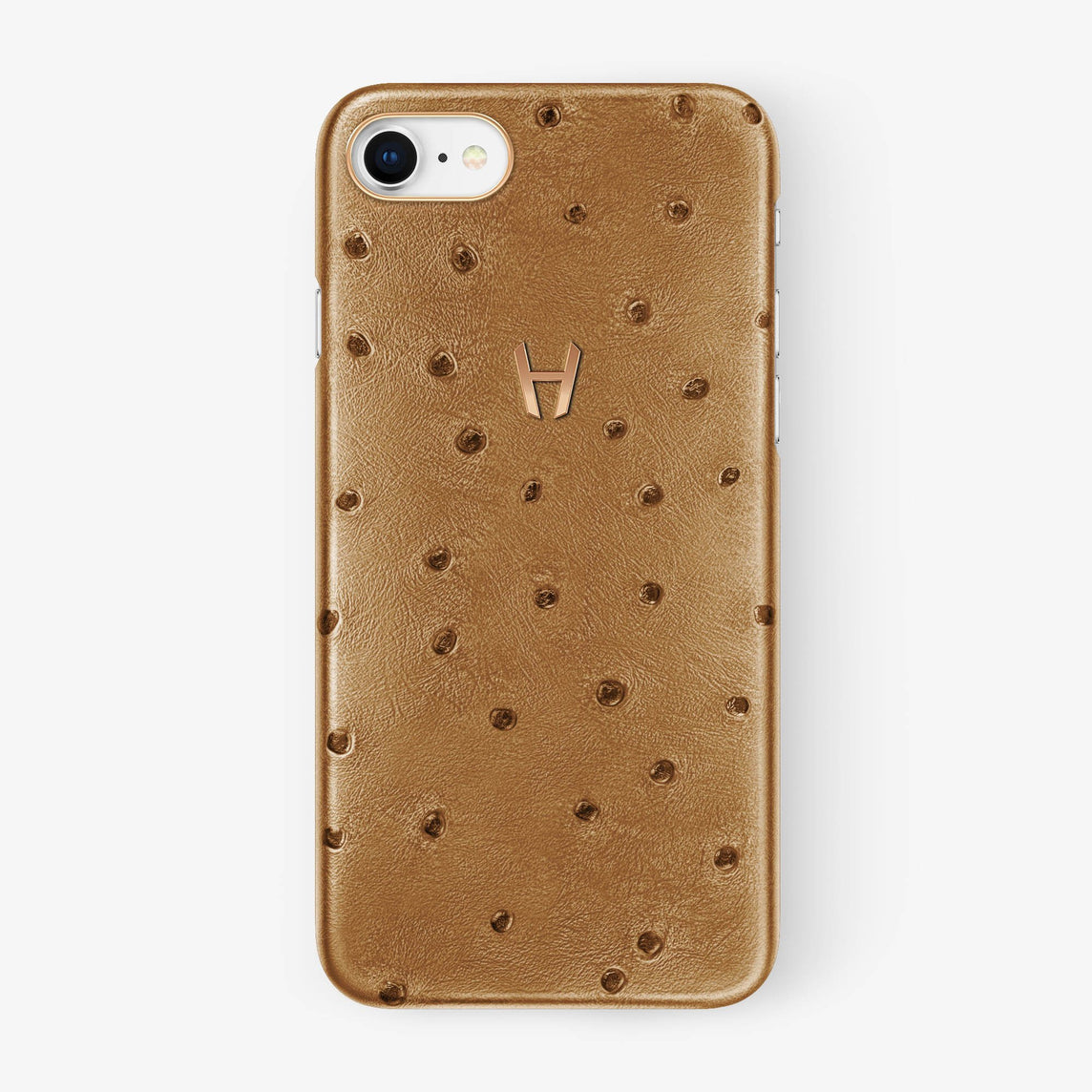 Chestnut Ostrich iPhone Case for iPhone 7/8 finishing rose gold - Hadoro Luxury Cases