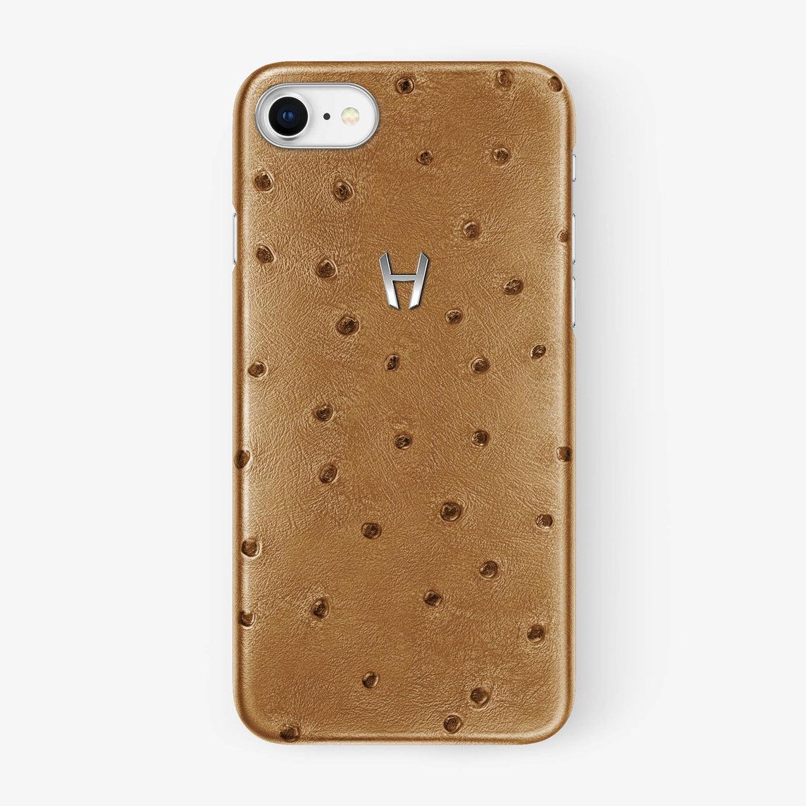 Ostrich Case iPhone 7/8 | Chestnut - Stainless Steel without-personalization