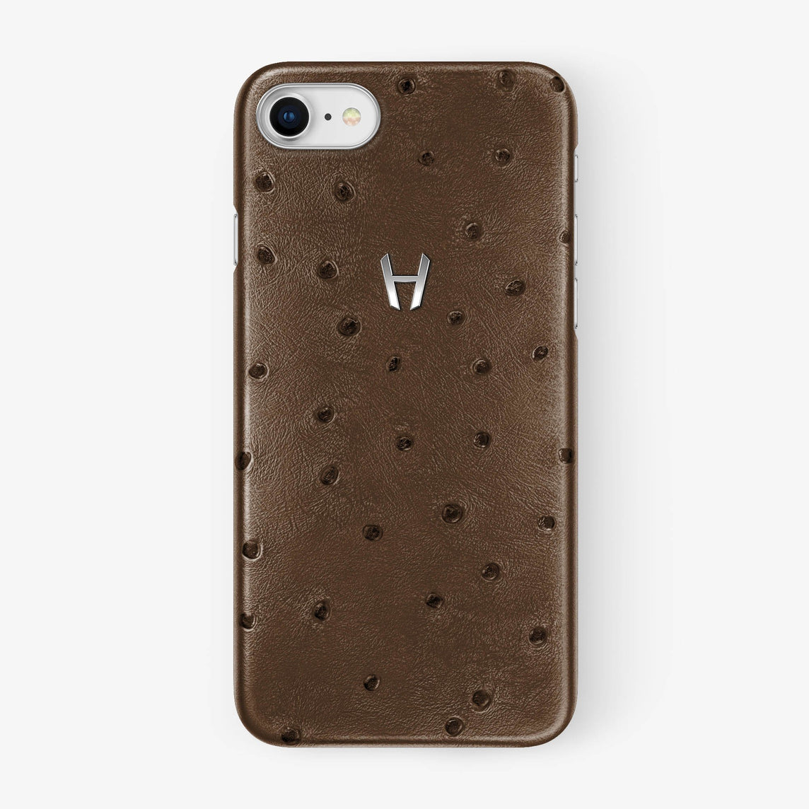 Tobacco Ostrich iPhone Case for iPhone 7/8 finishing stainless steel - Hadoro Luxury Cases