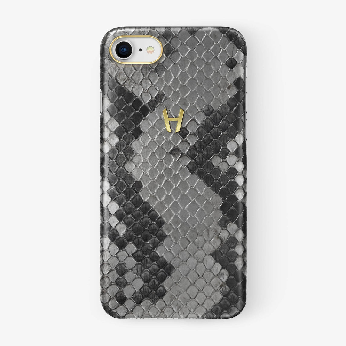 Natural Python iPhone Case for iPhone 7/8 finishing yellow gold - Hadoro Luxury Cases