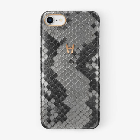 Natural Python iPhone Case for iPhone 7/8 finishing rose gold - Hadoro Luxury Cases