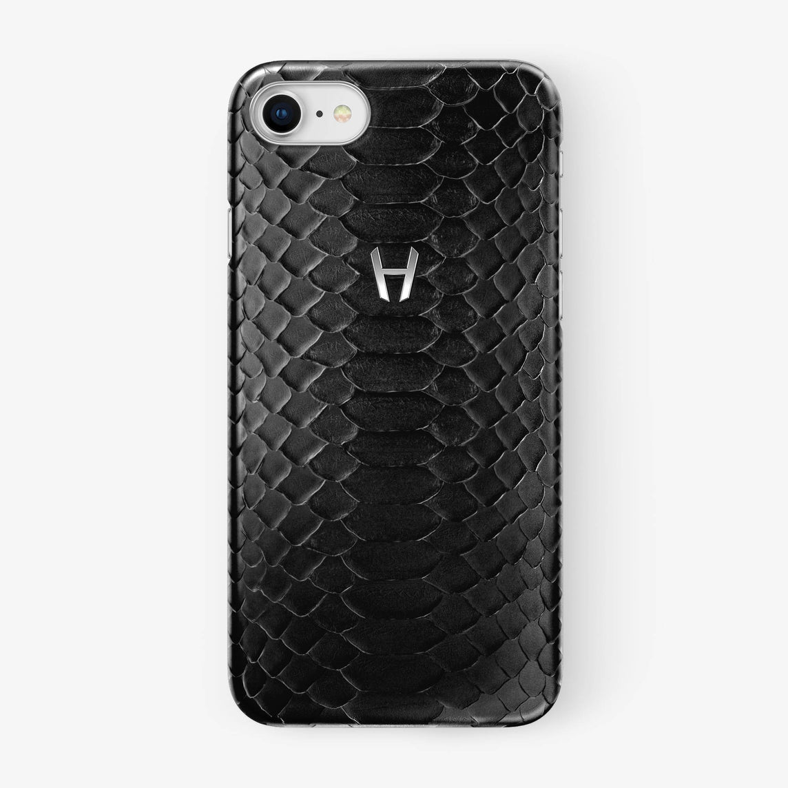 Black Python iPhone Case for iPhone 7/8 finishing stainless steel - Hadoro Luxury Cases