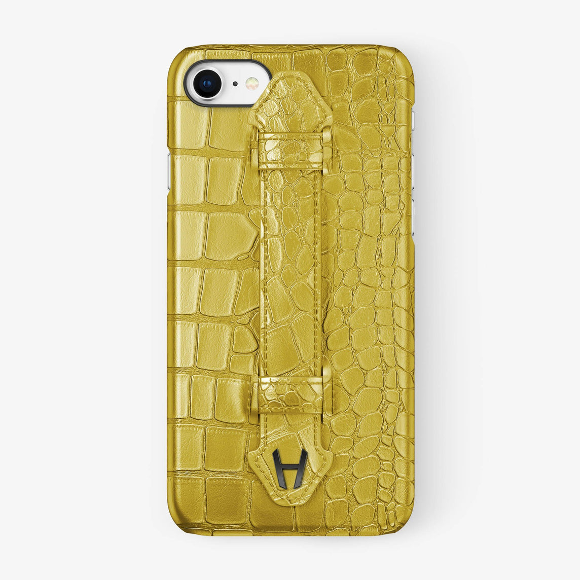 Yellow Alligator iPhone Finger Case for iPhone 7/8 finishing black - Hadoro Luxury Cases